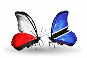 Two Butterflies With Flags On Wings As Symbol Of Relations Poland And Botswana