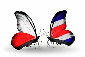 Two Butterflies With Flags On Wings As Symbol Of Relations Poland And Costa Rica