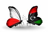 pic of libya  - Two butterflies with flags on wings as symbol of relations Poland and Libya - JPG