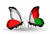 Two Butterflies With Flags On Wings As Symbol Of Relations Poland And Madagascar