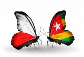 Two Butterflies With Flags On Wings As Symbol Of Relations Poland And Togo