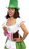 pic of st patty  - african american waitress dressed in st patricks day costume - JPG
