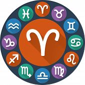 Astrological Signs Of The Zodiac In Circle - Aries