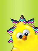 Easter Chick Hatched Out From Egg With Place For Text