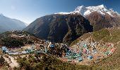 stock photo of sherpa  - Namche Bazar and mount Kongde  - JPG