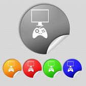 Joystick And Monitor Sign Icon. Video Game Symbol. Set Colourful Buttons. Vector