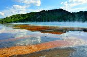 Red Steamy Surface Of The Midway Geyser Basin In Yellowstone National Park, Wyoming