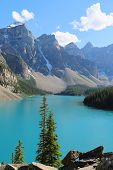 The beautiful Moraine Lake at Banff National Park
