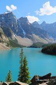 The beautiful Moraine Lake at Banff National Park