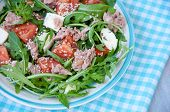 Fresh Salad With Tomatoes, Ruccola And Tuna