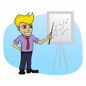 Business man with a chart - isolated cartoon illustration