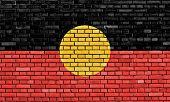 flag of Australian Aboriginal painted on brick wall