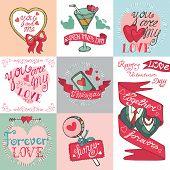 Valentines day card set.Emblems,Labels ,decorative elements