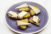 Snack Of Bread And Goat Cheese