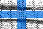 Flag Of Marseille Painted On Brick Wall