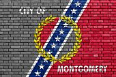 Flag Of Montgomery Painted On Brick Wall
