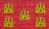 Flag Of Poitou Charentes Painted On Brick Wall