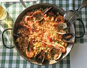 pic of valencia-orange  - Typical spanish seafood paella in traditional pan - JPG