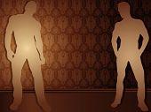 Sexy boys contra fondo de Damasco. Editable Vector Illustration