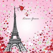 Design Template.Hearts ,flowers,Eiffel tower