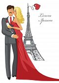 Romantic card,template.Kissing Couple,Eiffel tower