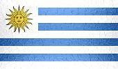 Uruguay flag on metallic metal texture