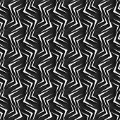 Geometrical Ornament With White Zig-zags On Gray Background