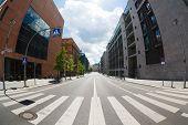 Crosswalk On Empty Street Of Berlin