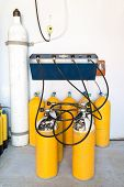 picture of fill  - Scuba Tanks being filled at a Filling Station - JPG