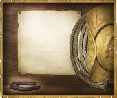 American Rodeo Cowboy Background With Western Hat And Lasso