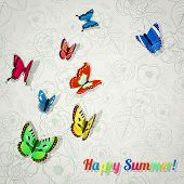 Background With Colorful Butterflies