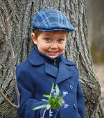 Boy in spring forest
