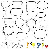 foto of punctuation marks  - Collection set of cute speech balloon doodles plus some punctuation marks - JPG