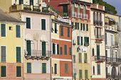 Portofino old houses detail. Color image