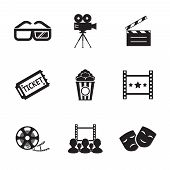 Cinema and Movie icon set modern trendy silhouette isolated