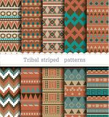 Tribal striped seamless patterns. pattern swatches included