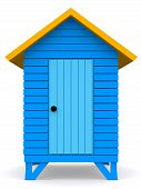 image of beach hut  - 3D Beach hut isolated over a white background - JPG