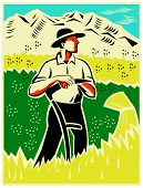 stock photo of scythe  - illustration of a farmer with scythe standing in wheat field facing front with mountaions in background done in retro woodcut style - JPG