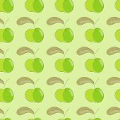 Seamless Pattern Green Apple With Brown Leaf.