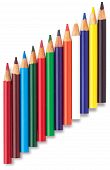 Angled Row Of Childrens Colouring Coloring Pencils On A White Background