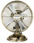 Old Fashioned Retro Silver And Brass Desktop Fan  On A White Background