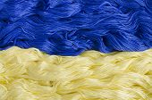 Texture Thread With The Image Of The Flag Of Ukraine.