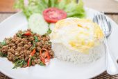 Thai Spicy Food Basil Pork Fried Rice With Fried Egg