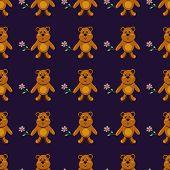 Seamless Pattern With Children's Teddy Bears, Illustration For Children
