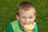 The child winced bites sour lemon