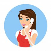 picture of telephone operator  - Female smiling call centre operator with telephone - JPG