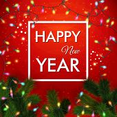 Happy new year 2015 card. Traditional red background with garlan