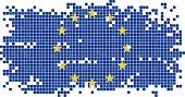 European Union grunge tile flag. Vector illustration