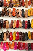 Sandals And Slippers On A Market