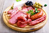 pic of cheese platter  - Catering platter with different meat and cheese products - JPG